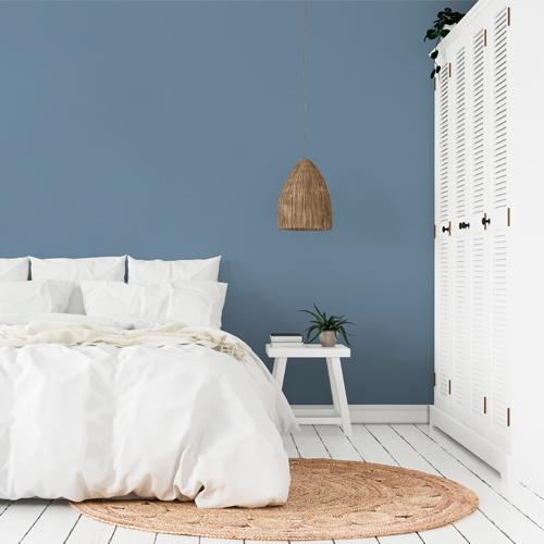 dormitorio pintura a la tiza azul real