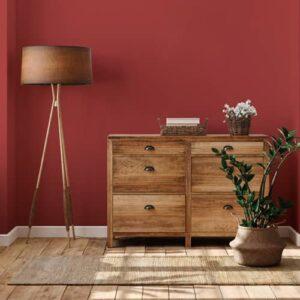recibidor pintura a la tiza velvet passion red